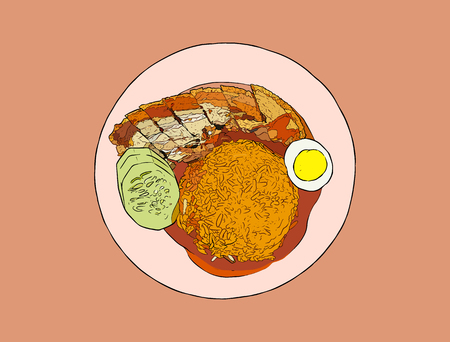 crispy pork belly  on rice , thai or chinese food.Top view hand draw sketch vector. Illustration