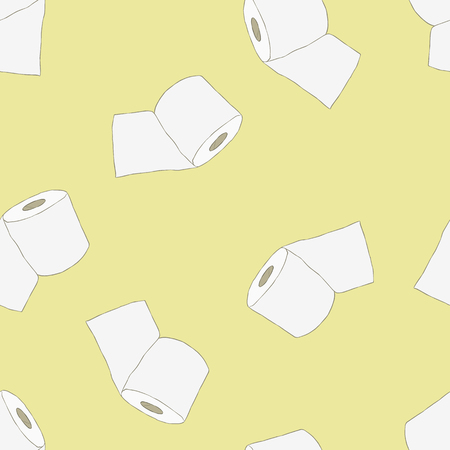 Roll of toilet paper hand drawn seamless pattern
