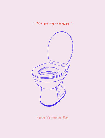 Valentine's day gift card design with toilet bowl sketch vector.