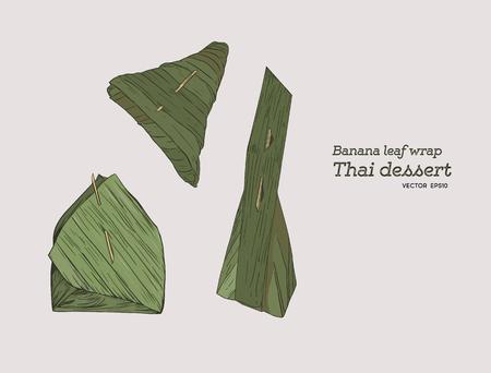 Banana leaf packaging for Thai dessert.