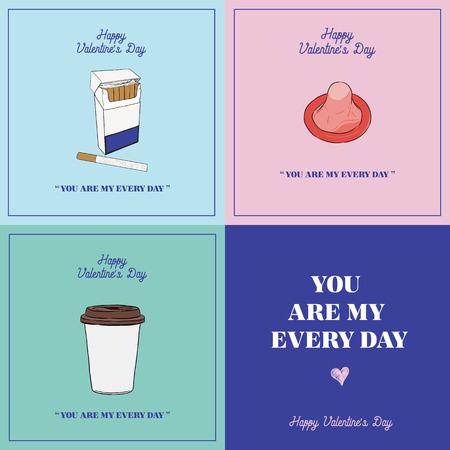 Valentine's day gift card set