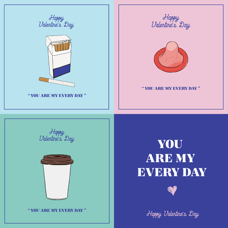Valentine's day gift card set