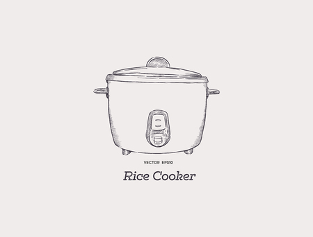 rice electric cooker oven vector.