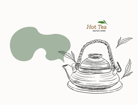 Japanese tea kettle engraved. Asian cups for tea in the sketch style. Vector illustration. EPS 10.