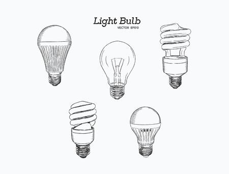 Vector hand drawn illustration of the light bulb evolution set.incandescent lightbulb,  Energy-saving light and LED lamp .