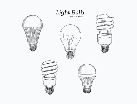 Vector hand drawn illustration of the light bulb evolution set.incandescent lightbulb,  Energy-saving light and LED lamp .
