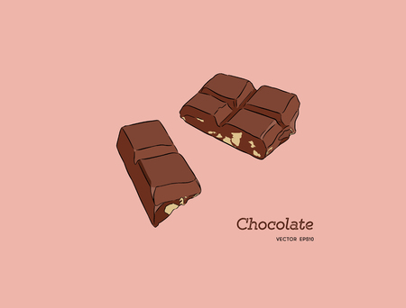 Pieces of peanut chocolate bar, sketch style vector Hand drawn chocolate bar broken into pieces, appetizing realistic drawing