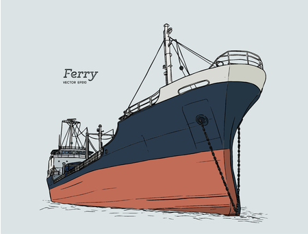 ferry boat, hand draw sketch highly detail vector.