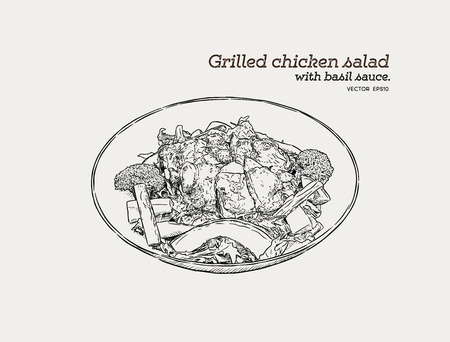 Grilled chicken salad with pesto sauce in a bowl. Hand draw sketch food vector. Ilustração