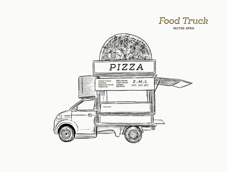 Mobile food truck. Van with pizza. Vector illustration hand draw style.