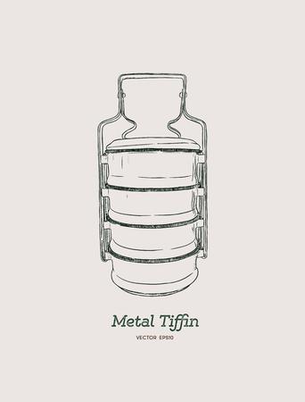 Yellow metal Tiffin,thai food carrier, hand draw sketch vector. 일러스트