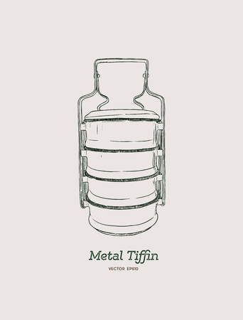 Yellow metal Tiffin,thai food carrier, hand draw sketch vector. Illustration