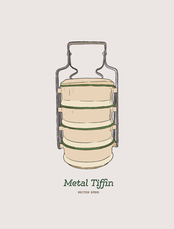 Yellow metal Tiffin,thai food carrier, hand draw sketch vector.  イラスト・ベクター素材