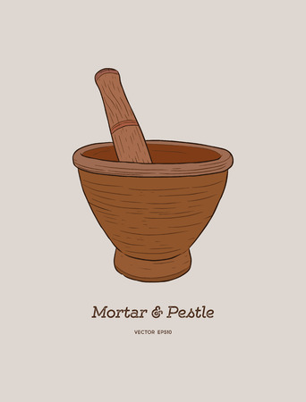 Mortar and pestle . Hand drawn sketch vector retro vintage illustration. Bowl, vessel for milling spice and medical herbs. Hand mill.  Ilustração