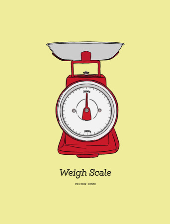red weigh scale . kitchen scales ,cartoon vector and illustration, hand drawn style Illustration