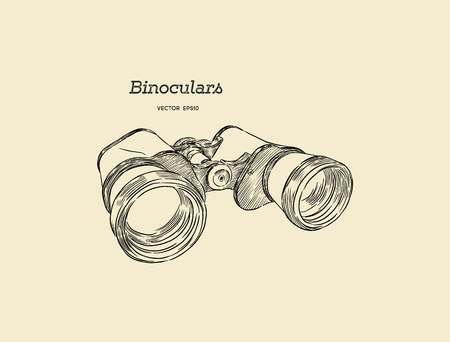 Binocular , engraved hand drawn in sketch for exploring and discovering. Stock Illustratie