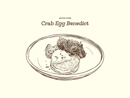 Crab Cake on top with egg Benedict. Hand draw sketch vector.