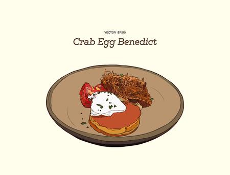 Gâteau de crabe sur le dessus avec l'oeuf Benoît. Main dessiner un vecteur de croquis.