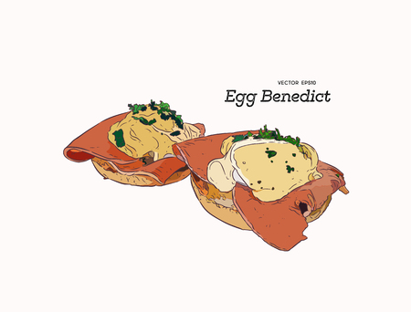 Eggs Benedict toasted English muffins, ham, poached eggs, and delicious buttery hollandaise sauce. Hand draw sketch vector for cafe and restaurant. Illustration