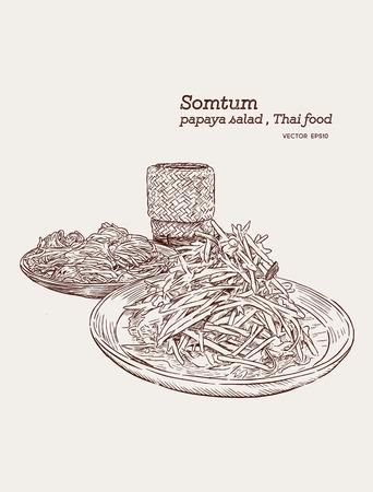 Sałatka z papai lub som-tum, tajskie jedzenie z makaronem ryżowym i lepkim ryżem ręcznie rysowane szkic wektor.