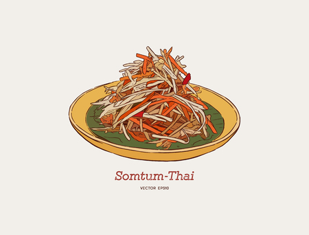 A papaya salad or som-tum , thai food of hand drawn sketch vector.