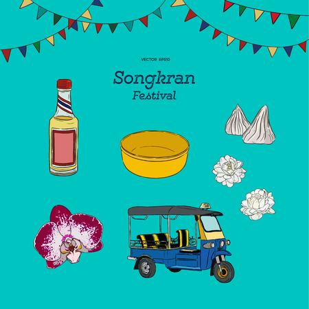 Songkran festival sign of Thailand, vector illustration