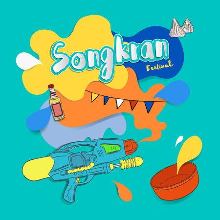 Songkran festival sign of Thailand, vector illustration