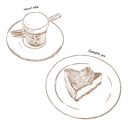 Carrot cake and pumpkin pie, dessert cafe. hand drawn sketch vector.