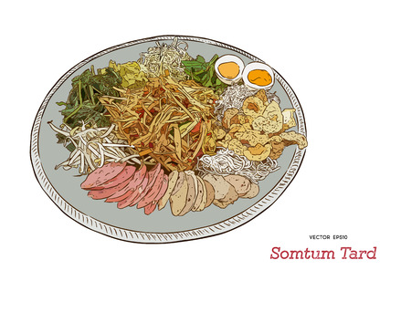 Papaya Salad on tray served with varieties of papaya salad  with Fermented Fish , vegetable, crispy pork , rice noodle , egg and thai style ham. Hand draw sketch vector of thai food