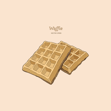 Waffles, hand draw sketch vector. Illustration