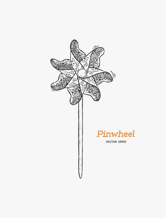 Pinwheel or paper windmill, childhood toy. Hand draw sketch vector. 向量圖像