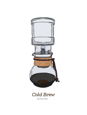 Cold brew coffee maker hand draw illustration vector.