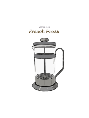 French-press coffee maker hand draw illustration vector. Illustration