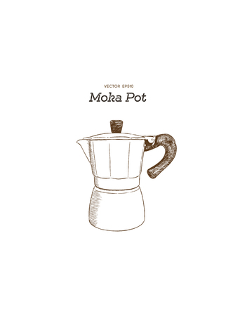 Moka pot coffee maker hand draw illustration vector.