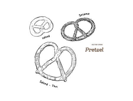 Appetizing Bavarian pretzel . Vector illustration in cartoon style. Hand draw sketch vector. Vettoriali