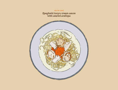 Spaghetti Tonyu Cream Sauce with Seared Scallops. Illustration vector. Hand draw fusion food.