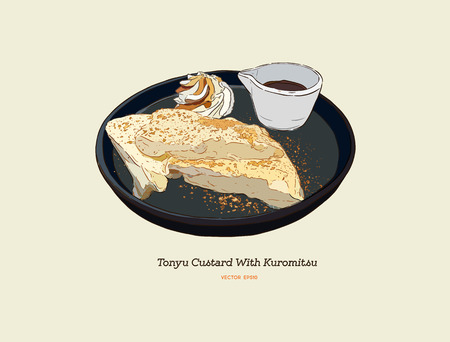 Tofu Custard or soy milk Créme Brûlée with brown sugar. Han d draw sketch vector. Illusztráció