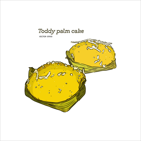 Khanom Tarn, Toddy Palm Cake Topped wih Coconut , hand draw sketch vector.