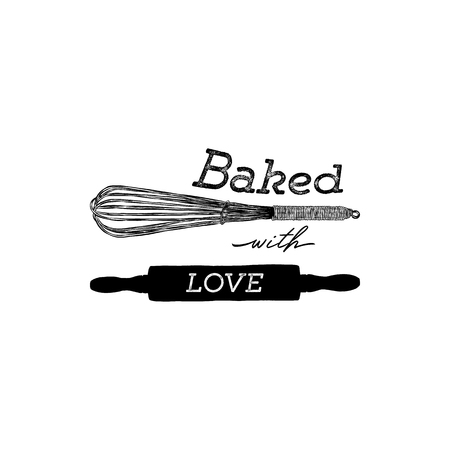Baked with love hand draw kitchen tools, handwritten lettering.
