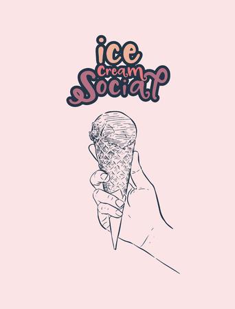 冰淇淋社会,手绘制素描冰淇淋矢量。