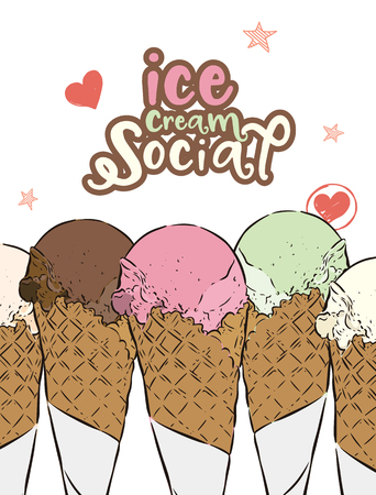 Ice-cream social, hand draw sketch ice-cream vector.