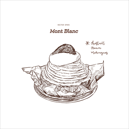 """French traditional cake """"Mont Blanc"""" with chestnuts cream, hand draw sketch vector. A Mont Blanc is a dessert of puréed, sweetened chestnuts filled mostly with whipped cream."""