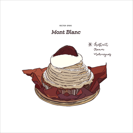 French traditional cake Mont Blanc with chestnuts cream, hand draw sketch vector.  A Mont Blanc is a dessert of puréed, sweetened chestnuts filled mostly with whipped cream.