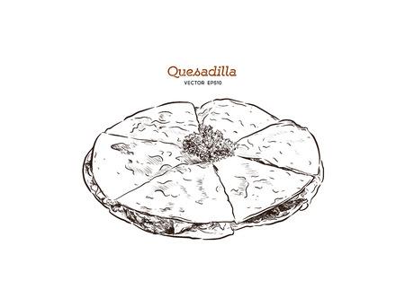 vector hand drawn Quesadilla Mexican food sketch Illustration. Vector Illustration