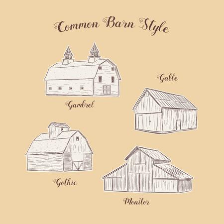 Colección de estilo de granero común, vector de boceto de dibujo a mano.