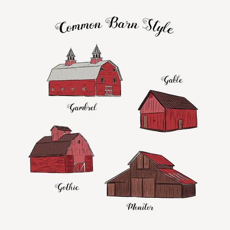 Collection de style de grange commun, vecteur de croquis de dessin à la main.
