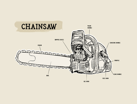 Vector chainsaw - petrol chain saw, hand draw sketch vector.