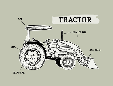 Vintage agricultural tractor, sketch. Farmers market, lettering. Hand drawn vector illustration. show part of tractor.
