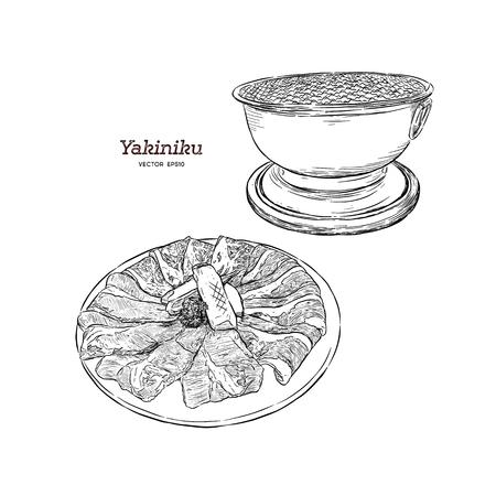 korean bbq set, hand draw illustration vector.