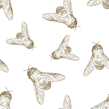 Vector seamless pattern with hand drawn honey bees made in retro style. Beautiful ink drawing Ilustração